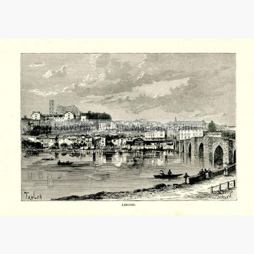Limoges 1875 Prints KittyPrint 1800s France Townscapes
