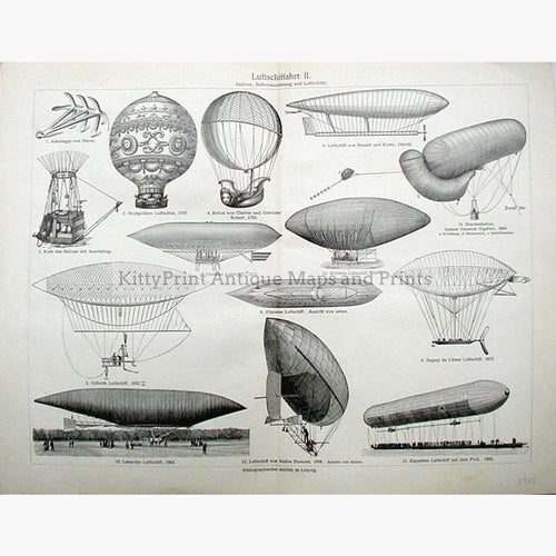 Luftschiffahrt Balloons. Showing Zeppelin 1905 Prints KittyPrint 1900s Road Rail & Engineering
