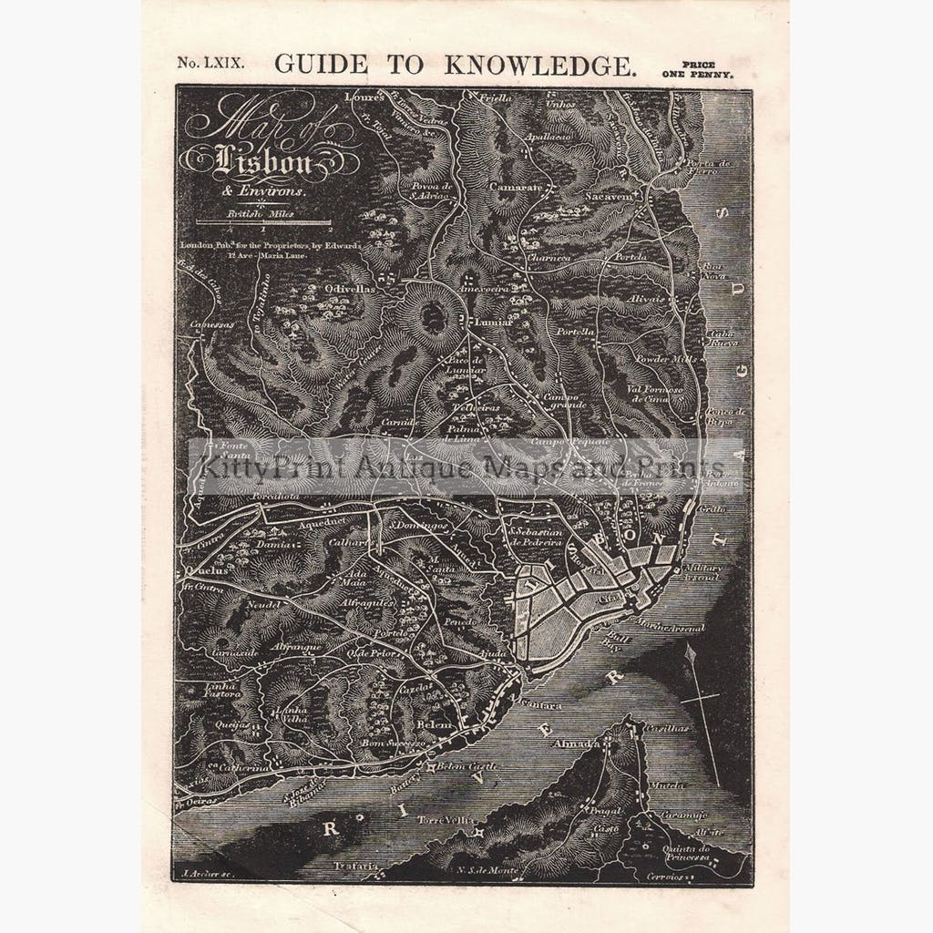 Map of Lisbon and Environs 1838 Maps KittyPrint 1800s Spain & Portugal Town Plans