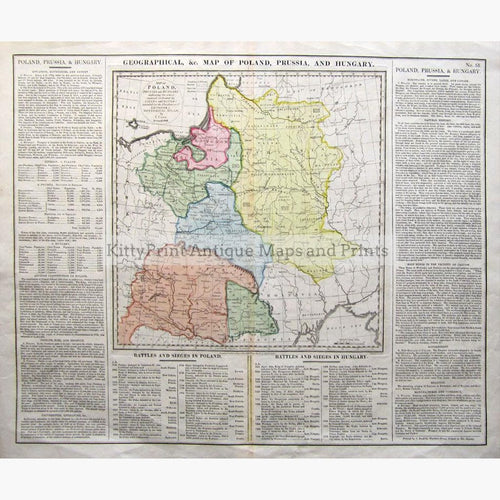 Map of Poland Prussian and Hungary 1828 Maps KittyPrint 1800s Battles Wars & Fortifications Eastern Europe Germany Land Use & Resources Population Statistics