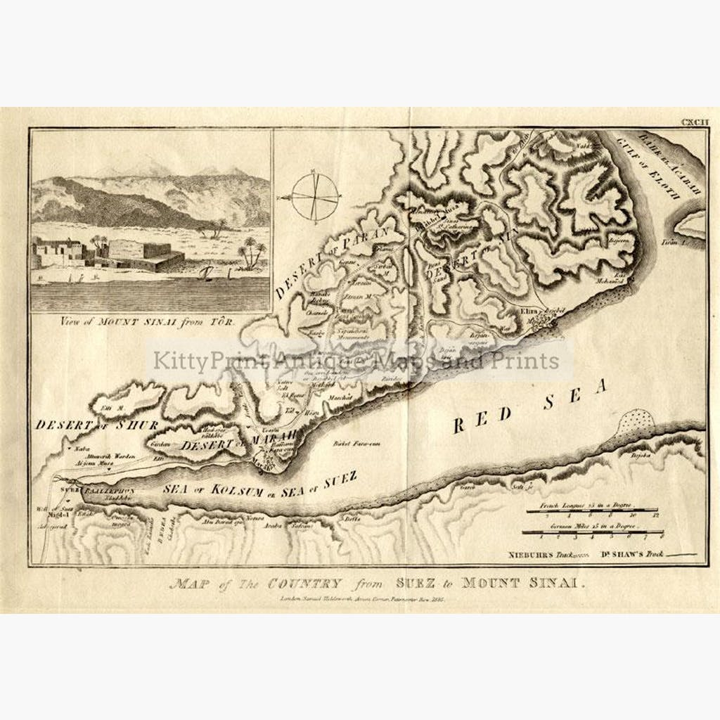 Map of the Country from Suez to Mount Sinai 1836 Maps KittyPrint 1800s Arabia & Egypt