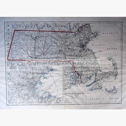 Massachusetts Boston 1910 Maps KittyPrint 1900s Canada & United States Road Rail & Engineering