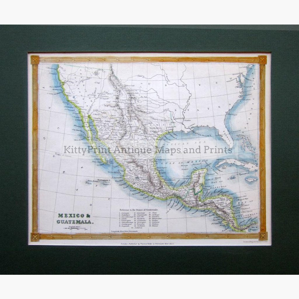 Mexico and Guatemala 1842 Maps KittyPrint 1800s Central & Latin America