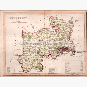 Middlesex Dugdale,1846 Maps KittyPrint 1800s England