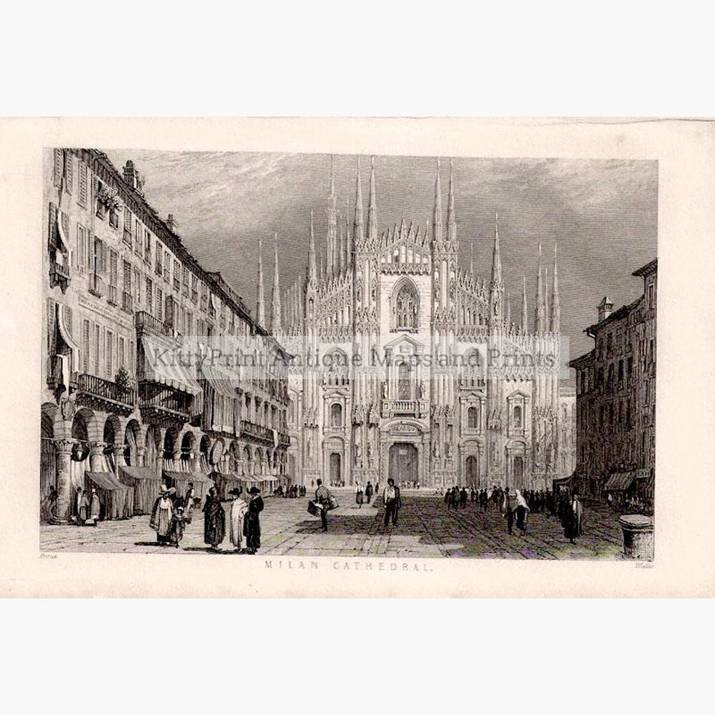 Milan Cathedral c.1840 Prints KittyPrint 1800s Castles & Historical Buildings Italy
