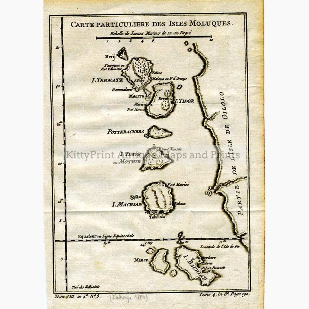 Moluccan Isles  Moluques 1780 Maps KittyPrint 1700s Islands Sea Charts