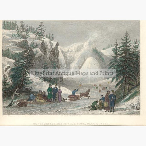 Montmorency Waterfall near Quebec c.1840 Prints KittyPrint 1800s Canada & United States Genre Scenes Landscapes