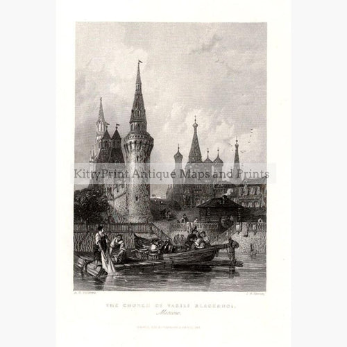 Moscow Church of Vasili Blacennoi 1844 Prints KittyPrint 1800s Castles & Historical Buildings Russia