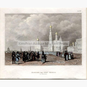 Moscow Ivan the Great Monastery c.1840 Prints KittyPrint 1800s Castles & Historical Buildings Russia