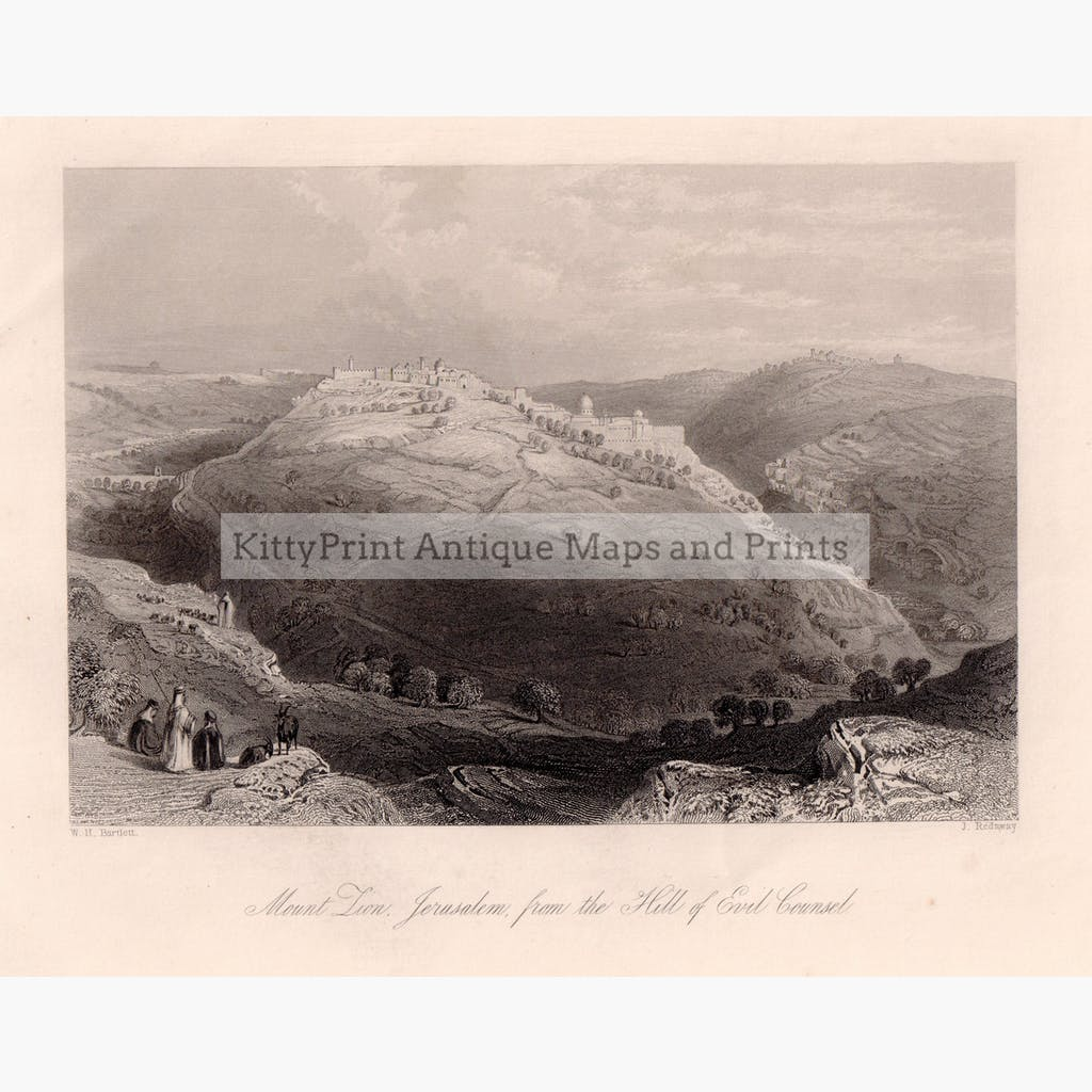 Mount Zion Jerusalem from the Hill of Evil Counsel c.1840 Prints KittyPrint 1800s Castles & Historical Buildings Holy Land Landscapes Religion