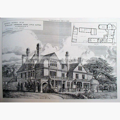 Mr. William Emersons House Little Sutton Chiswick 1881 Prints