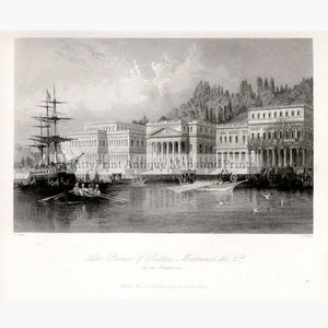 New Palace of Sultan Mahmoud the 2nd. on the Bosphorus 1838 Prints KittyPrint 1800s Castles & Historical Buildings Ottoman Turkey & Persia Seascapes Ports & Harbours