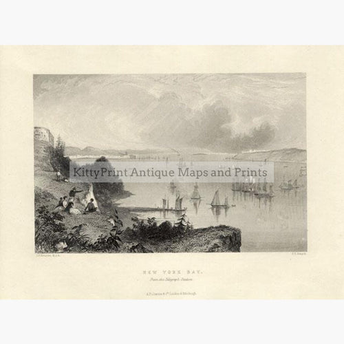 New York Bay from the Telegraph Station c.1840 Prints KittyPrint 1800s Canada & United States Seascapes Ports & Harbours