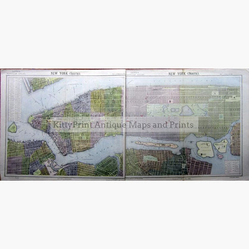 New York North and South 1886 Maps KittyPrint 1800s Canada & United States Town Plans