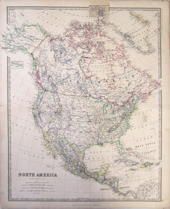 Antique Map, North America, 1877
