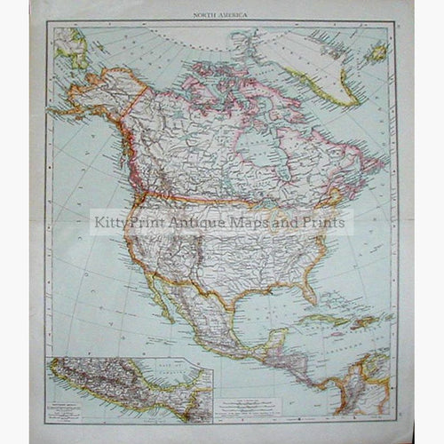 North America & Mexico 1890 Maps KittyPrint 1800s Americas Regional Maps Canada & United States Latin America