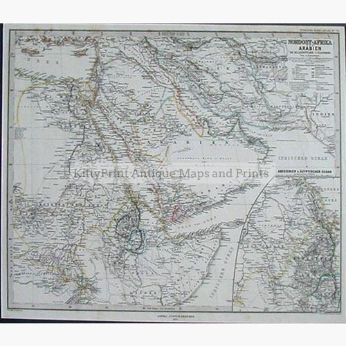 North East Africa and Arabia 1876 Maps KittyPrint 1800s Africa Arabia & Egypt Civilizations & Empires