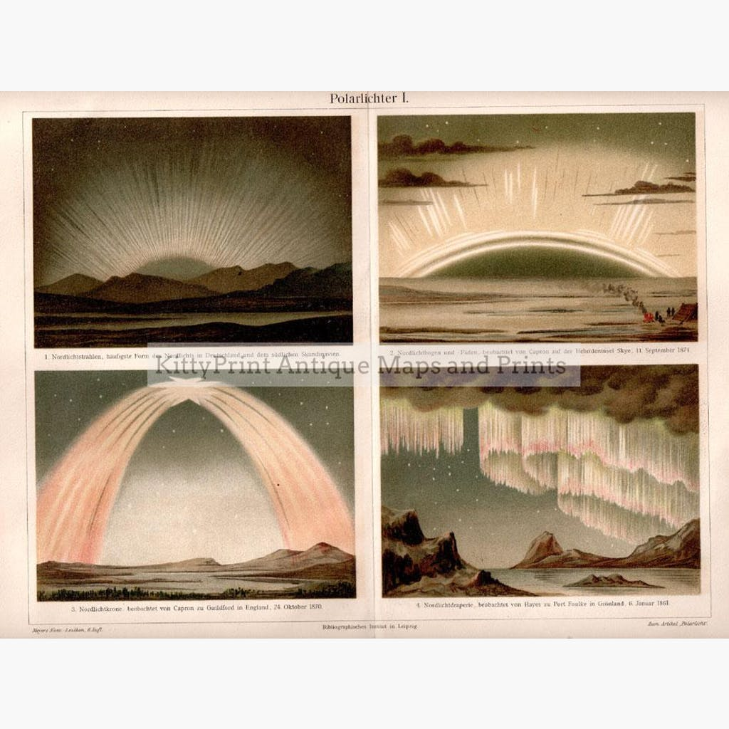 Northern Lights. Polarlichter 1907 Maps KittyPrint 1900s Astronomy