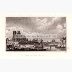 Notre Dame et a Pont Rouge Paris 1830 Prints KittyPrint 1800s France Paris Townscapes