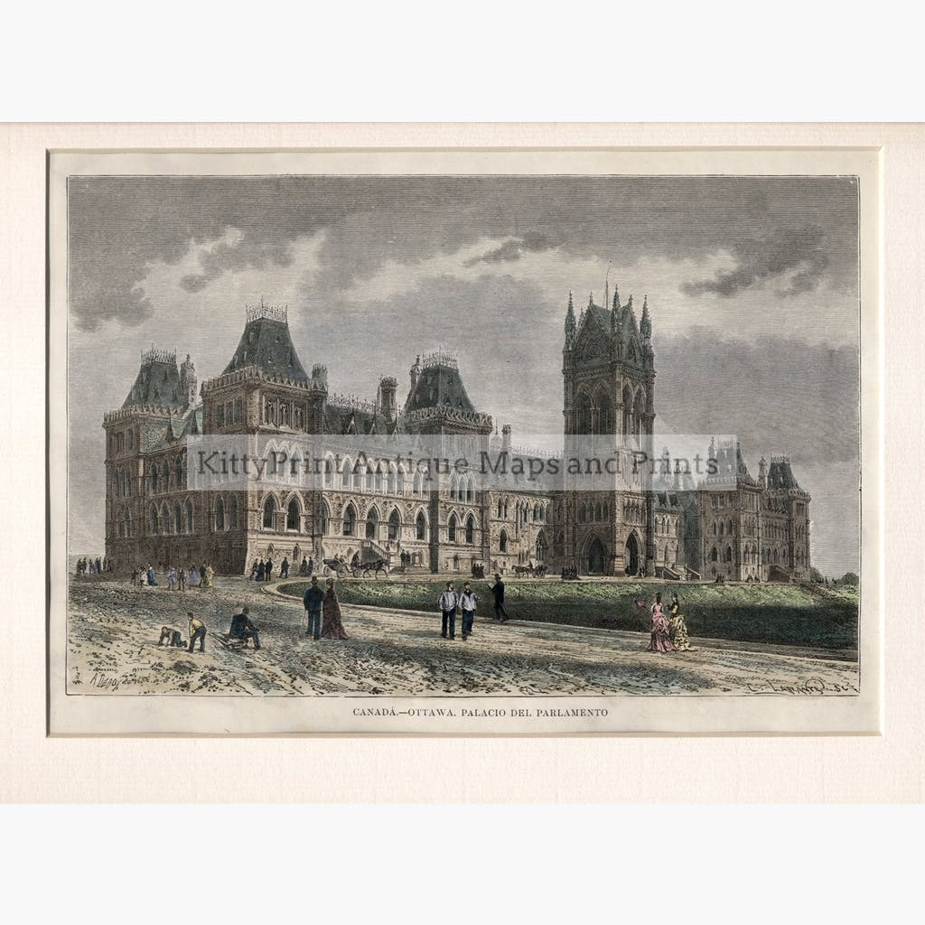Ottawa Parliament,1860 Prints KittyPrint 1800s Canada & United States Townscapes