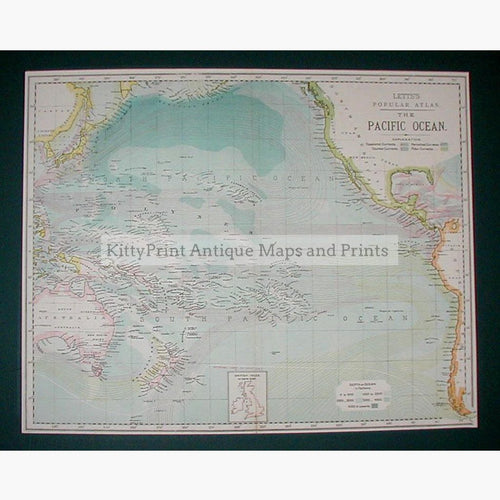 Pacific Ocean 1886 Maps KittyPrint 1800s Sea Charts World Maps