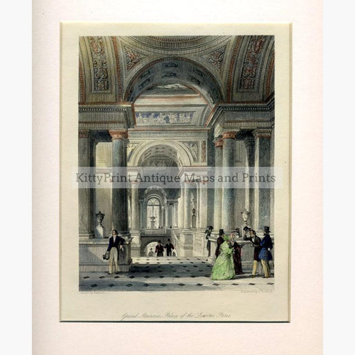 Palace of the Louvre Paris c.1840 Prints KittyPrint 1800s Castles & Historical Buildings France Genre Scenes