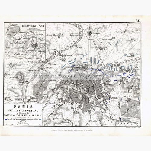 Paris and its Environs battle 1814 Maps KittyPrint 1800s Battles Wars & Fortifications France