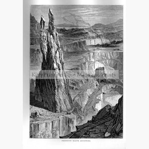 Penrhyn Slate Quarries 1870 Prints KittyPrint 1800s Engineering Landscapes Wales