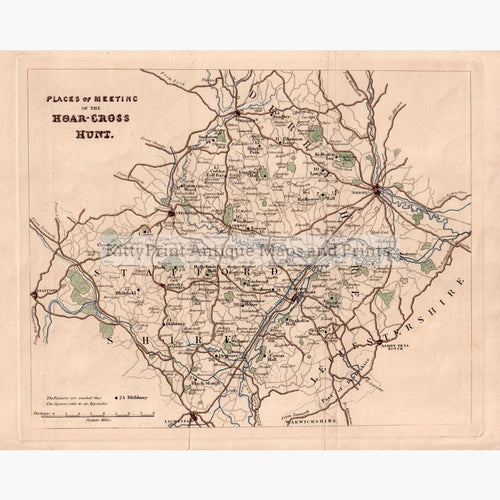 Places Of Meeting The Hoar-Cross Hunt C.1850 Maps