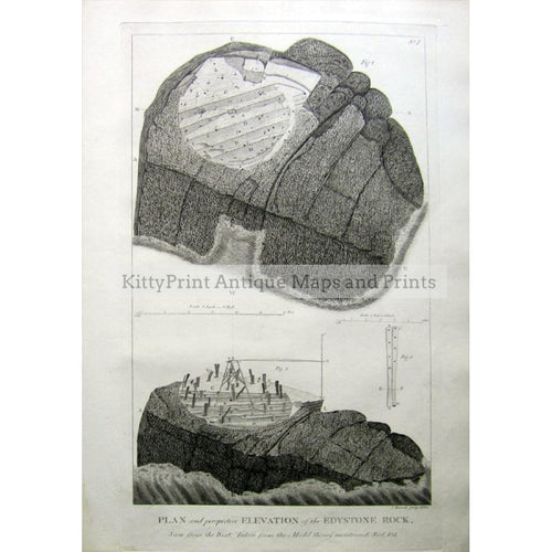Plan and pespective Elevation of the Edystone Rock 1785 Prints KittyPrint 1700s Architecture & Design England England in the 1700s