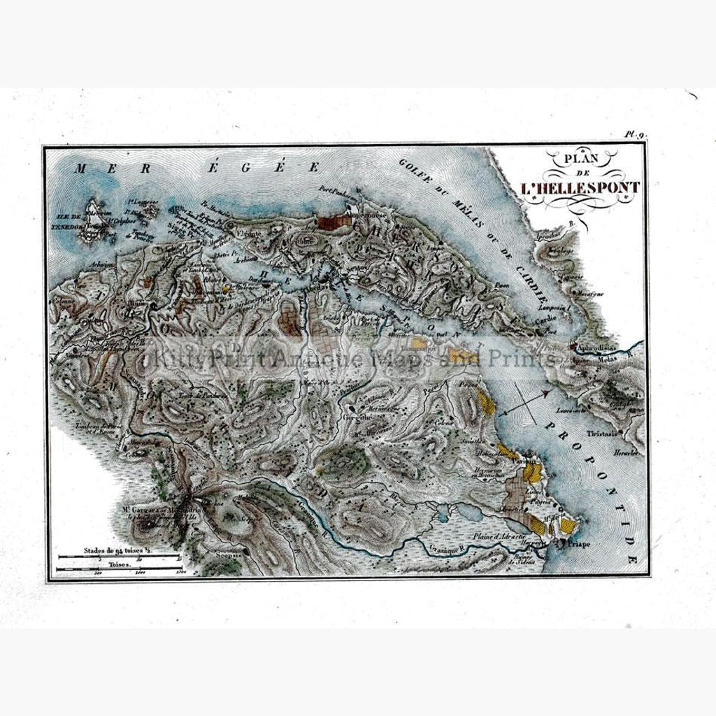 Plan de L'Hellespont 1824 Maps KittyPrint 1800s Civilizations & Empires Ottoman Turkey & Persia Sea Charts