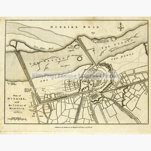 Plan of Dunkirk  1780 Maps KittyPrint 1700s France Military