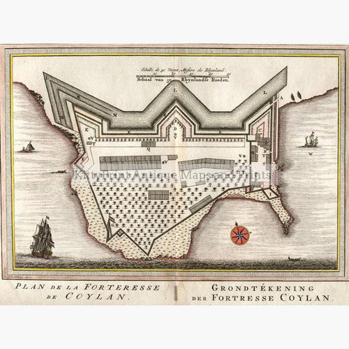 Plan of the Fortress of Coylan Kerala c. 1779 Maps KittyPrint 1700s Castles & Historical Buildings India & East Indies Military