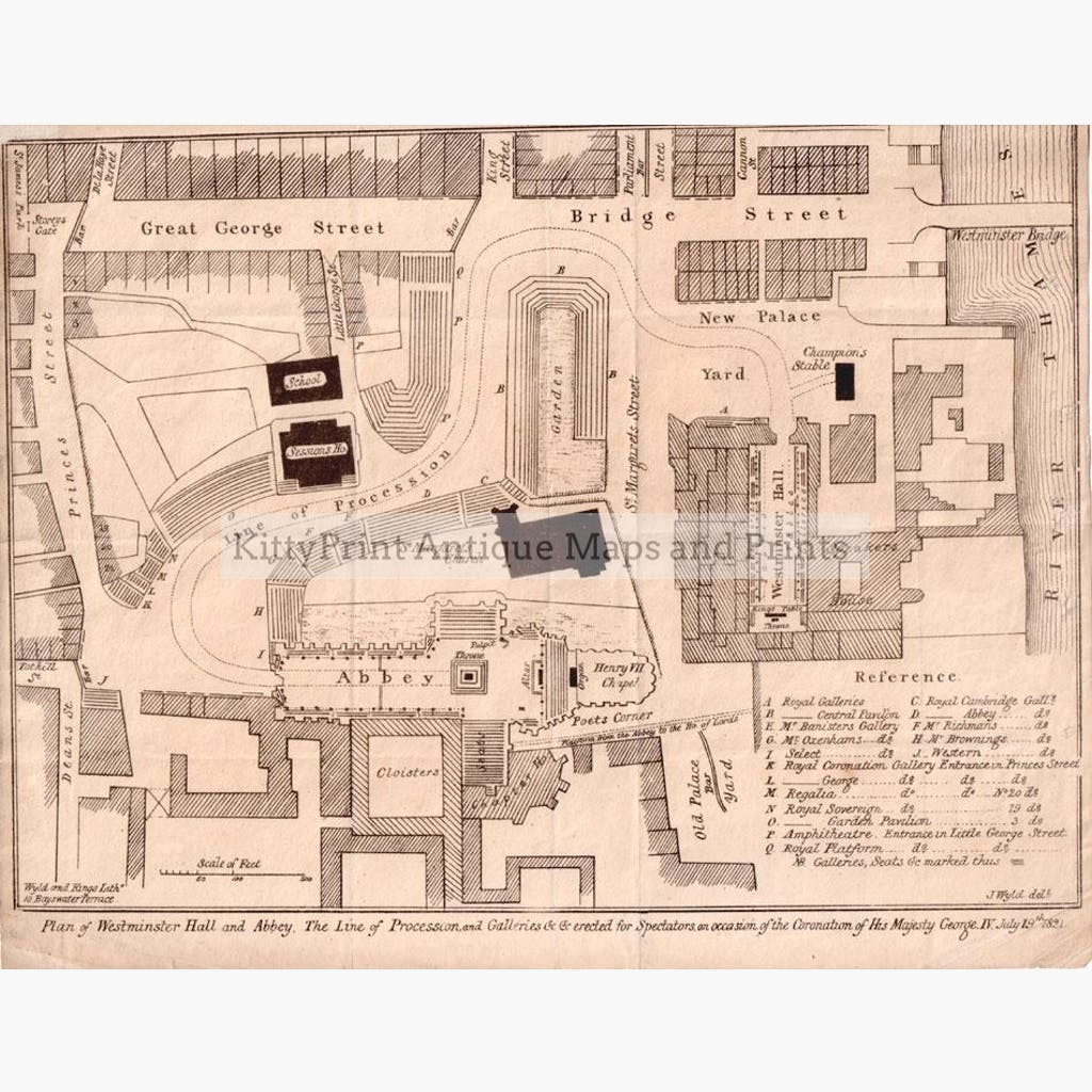 Plan of Westminster Hall and Abbey 1821 Maps KittyPrint 1800s England Town Plans