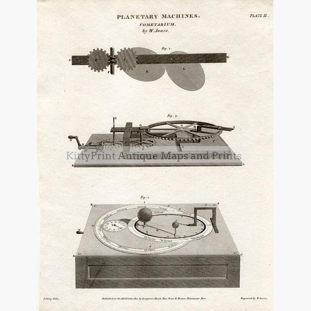 Planetary Machines Plate ll Cometarium 1812 Maps KittyPrint 1800s Astronomy