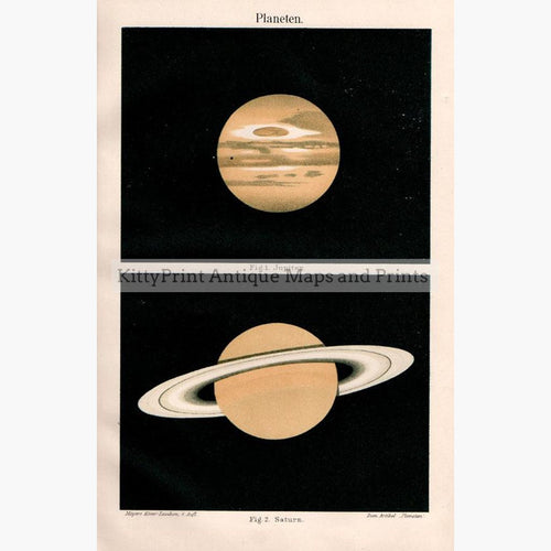 Planets.Jupiter and Saturn 1907 Maps KittyPrint 1900s Astronomy