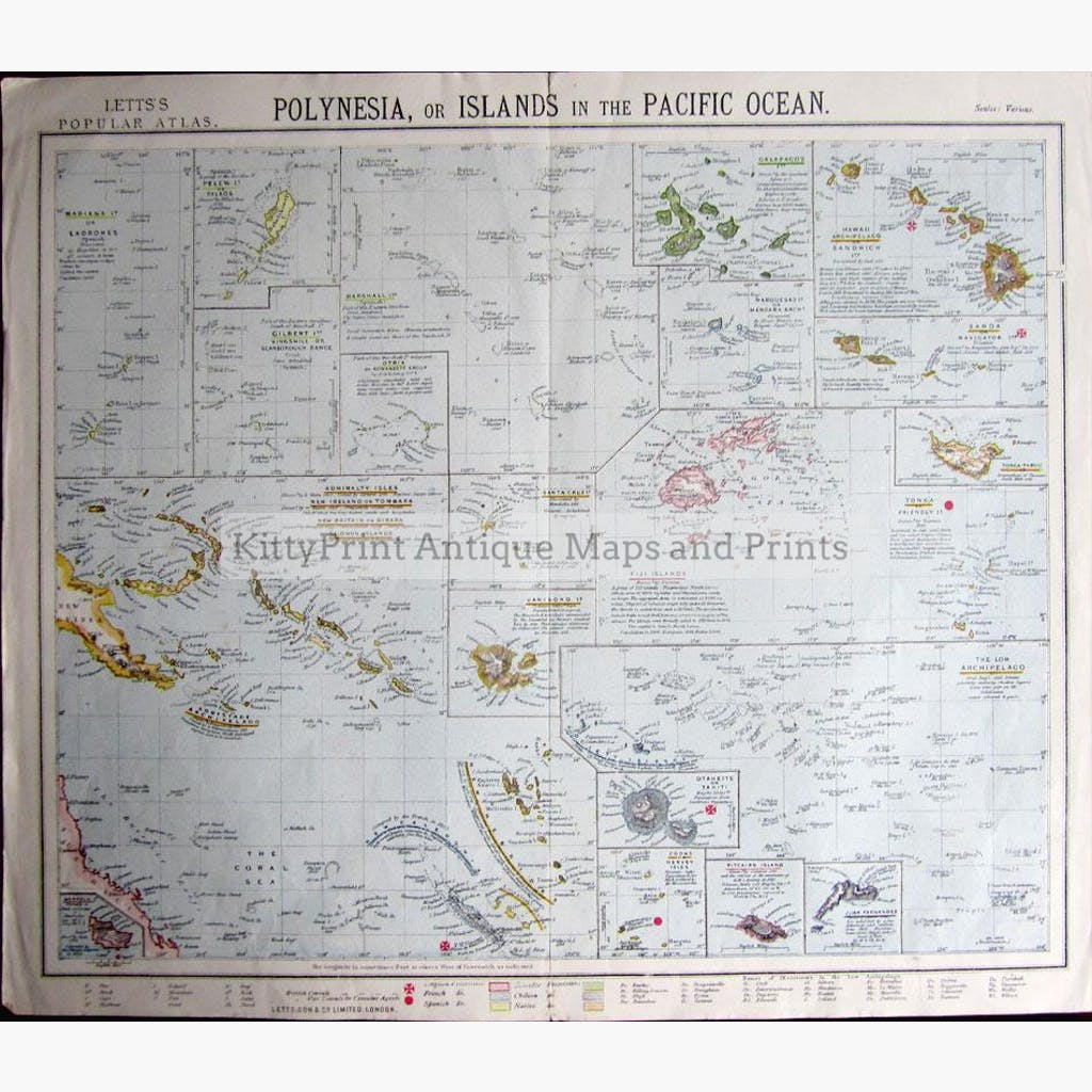 Polynesia or Islands in the Pacific Ocean 1881 Maps KittyPrint 1800s Australia & Oceania Islands Sea Charts