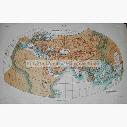 Ptolemy's Map of the World c.1880 Maps KittyPrint 1800s Civilizations & Empires World Maps