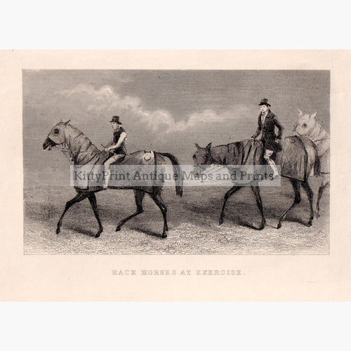 Race Horses At Exercise C.1870 Prints