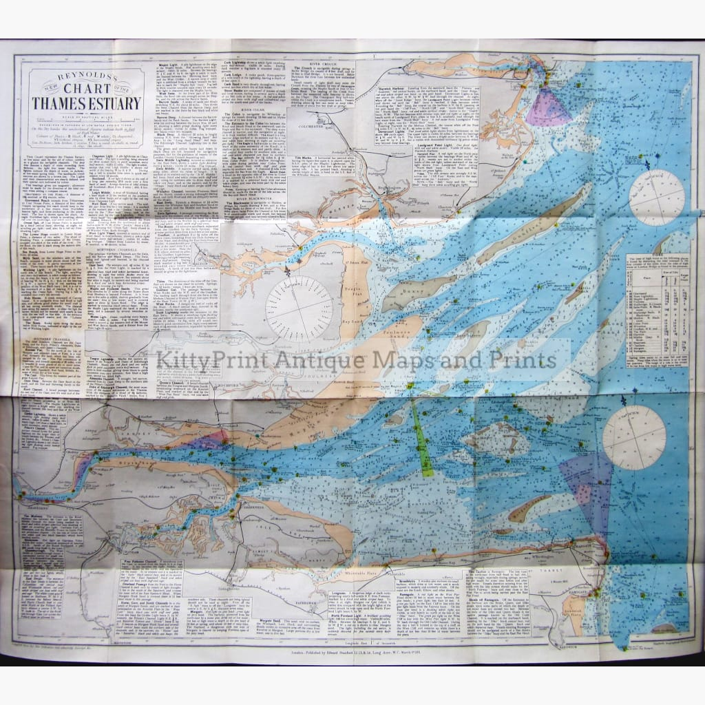 Reynolds's New Chart Of The Thames Estuary 1911 Set 2 Kittyprint