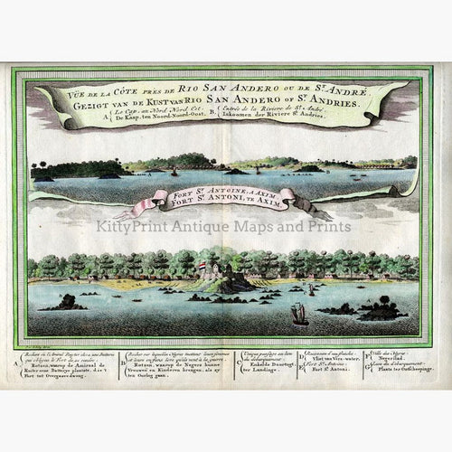 Rio San Andero and Fort Saint Antoine 1747 Prints KittyPrint 1800s Africa Military Netherlands & Belgium Seascapes Ports & Harbours