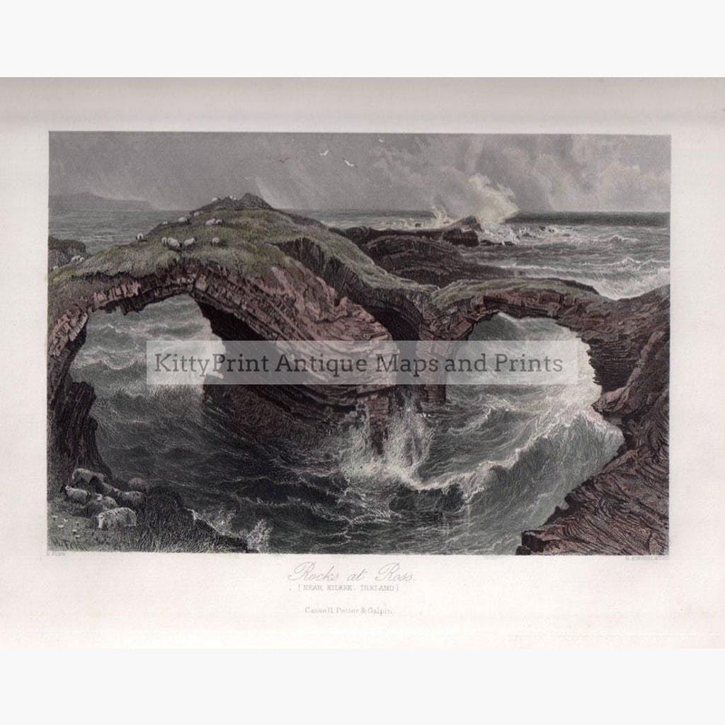 Rock at Ross. Near Kilkee Ireland c.1860 Prints KittyPrint 1800s Ireland Seascapes Ports & Harbours