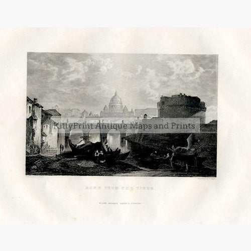 Rome from the Tiber 1840 Prints KittyPrint 1800s Italy Landscapes