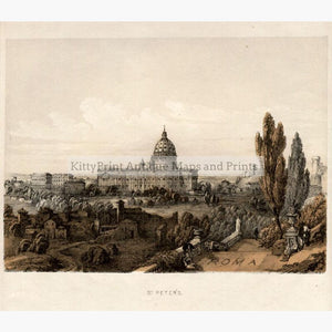 Rome St.Peter's c.1860 Prints KittyPrint 1800s Castles & Historical Buildings Italy