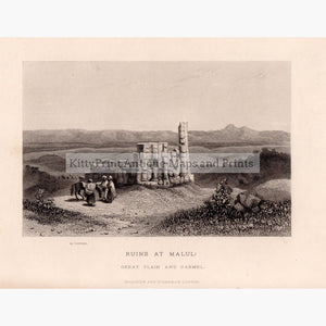 Ruins at Malul; great Plain and Carmel c.1843 Prints KittyPrint 1800s Castles & Historical Buildings Holy Land Landscapes