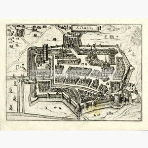 S.Omer  c.1600 Maps KittyPrint 1600s France Military