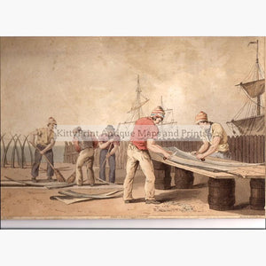Sailors Scraping Whalebone 1813 Prints KittyPrint 1800s Genre Scenes Maritime Seascapes Ports & Harbours