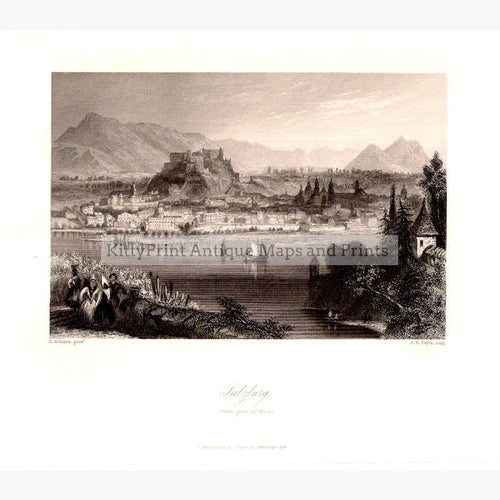 Salzburg. Birth place of Mozart c.1840 Prints KittyPrint 1800s Austria Townscapes