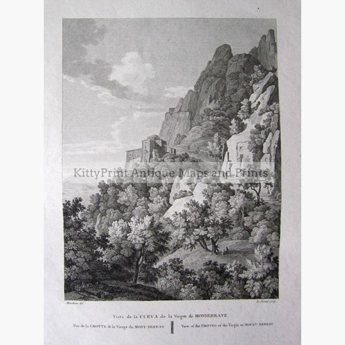 Santa Cova or Holy Cave of Monserrat 1801 Prints KittyPrint 1800s Landscapes Religion Spain & Portugal
