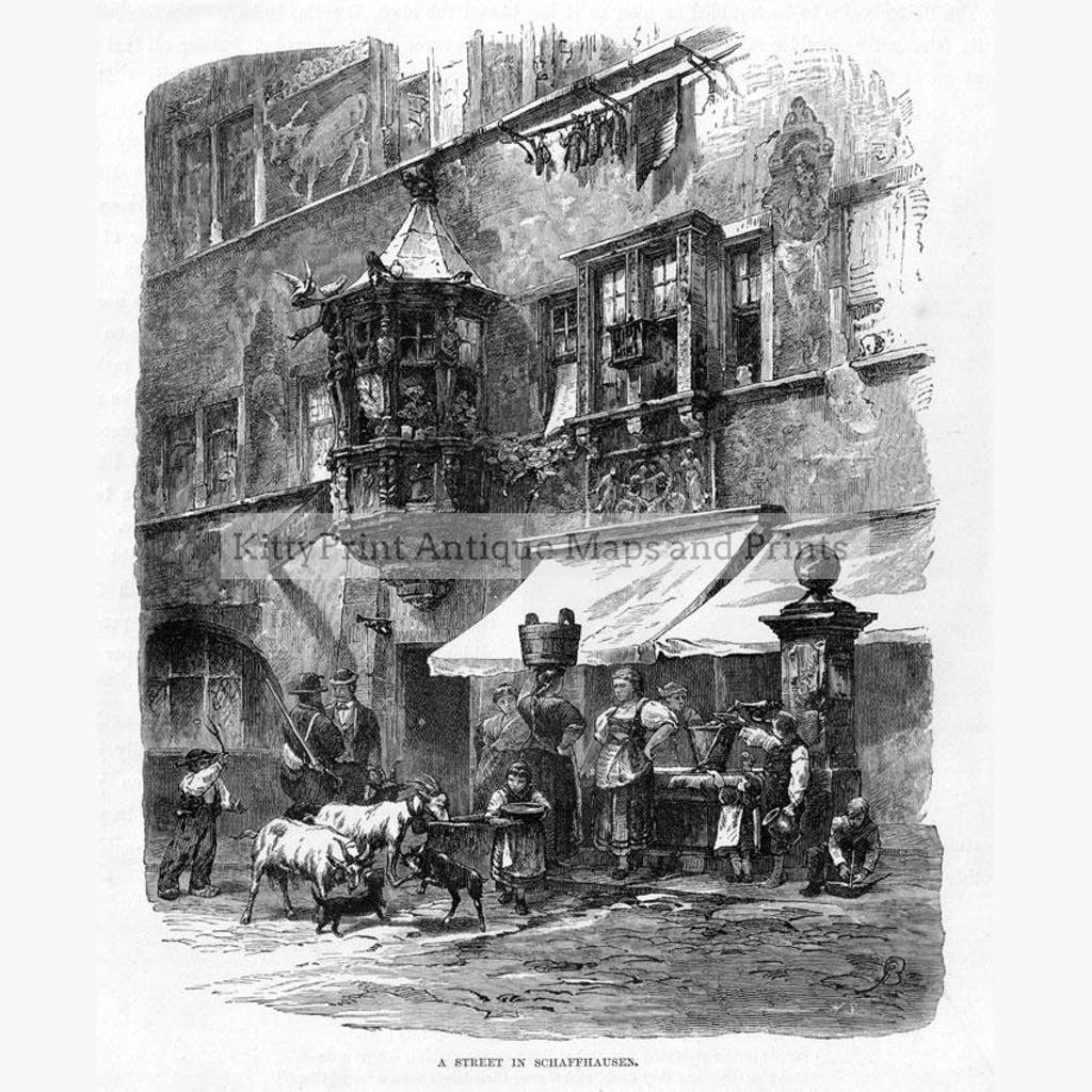 Schaffhausen street scene c.1860 Prints KittyPrint 1800s Genre Scenes Switzerland